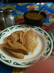 Here are some of the homemade chips with a salsa that has a slow burn!