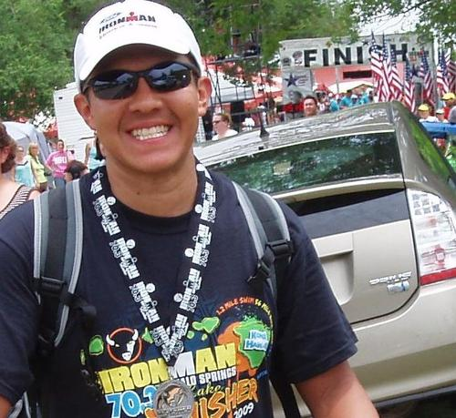 Ric Jimenez after finishing Ironman Wisconsin.