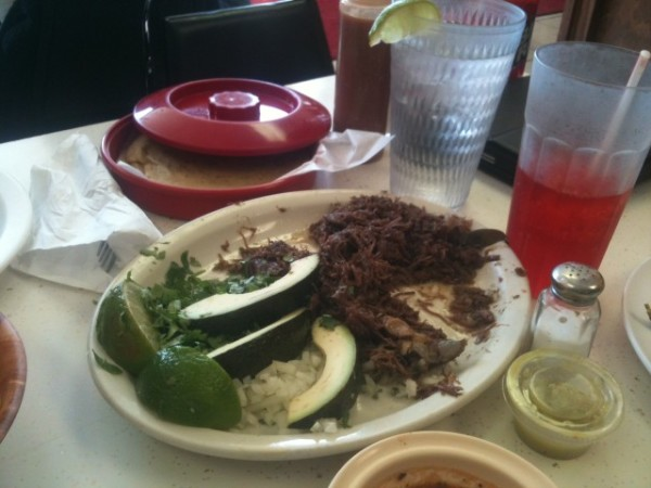 Barbacoa, the fixins, and a Big Red at Taqueria Datapoint