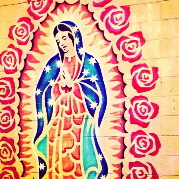 Mural by Fe De Rico across from Friendly Spot by @waspyredhead