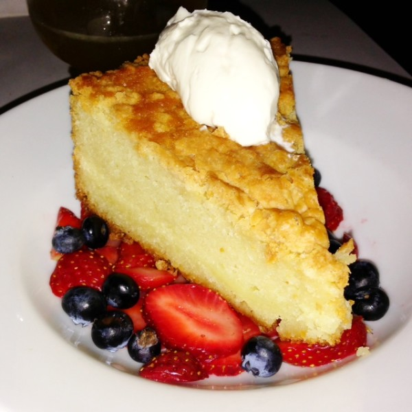 This Gâteau Basque was tasty, especially on the bed of fresh strawberries.