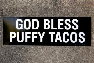 God Bless Puffy Tacos Bumper Sticker