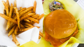 Chris Madrids Culinaria Cheddar Cheezy Burger and Fries